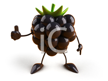 Royalty Free 3d Clipart Image of a Blackberry Holding a Sign
