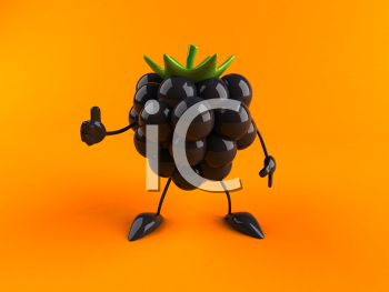 Royalty Free 3d Clipart Image of a Blackberry Giving a Thumbs Up Sign