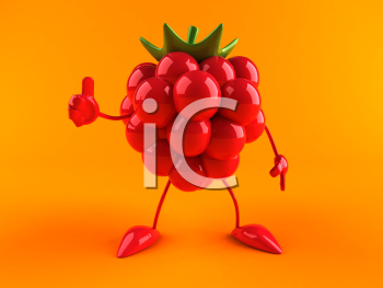 Royalty Free 3d Clipart Image of a Raspberry Giving a Thumbs Up Sign