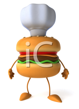 Royalty Free Clipart Image of a Hamburger Man Wearing a Chef's Hat