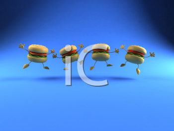 Royalty Free 3d Clipart Image of Dancing Hamburgers