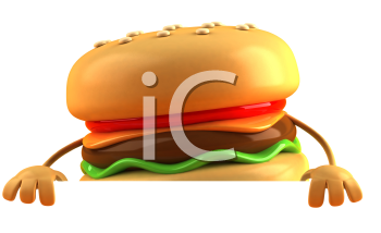 Royalty Free 3d Clipart Image of a Hamburger Holding a Sign Board