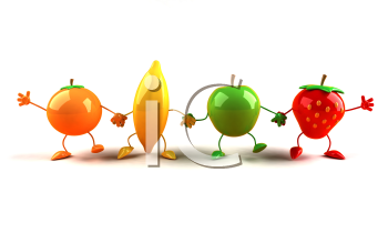 Royalty Free 3d Clipart Image of Assorted Fruit