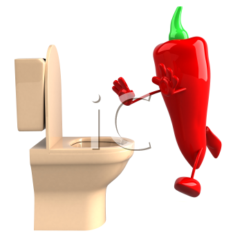 Royalty Free Clipart Image of a Red Pepper Running to the Toilet