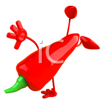 Royalty Free Clipart Image of a Red Pepper Doing a Handstand