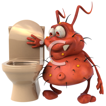 Royalty Free Clipart Image of Bathroom Germs