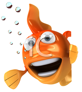 Royalty Free Clipart Image of a Fish Breathing Bubbles