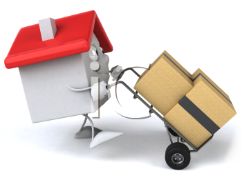 Royalty Free 3d Clipart Image of a House Pushing a Dolly Carts With Boxes