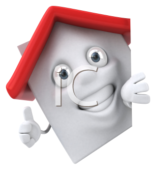 Royalty Free Clipart Image of a House Man Giving a Thumbs Up