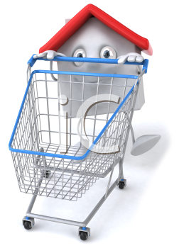 Royalty Free Clipart Image of a House Guy Behind a Grocery Cart