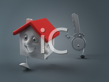 Royalty Free Clipart Image of a House and Key Running