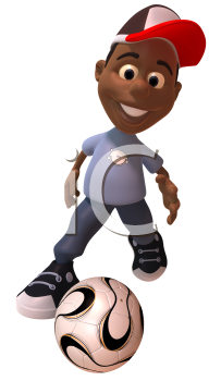 Royalty Free 3d Clipart Image of an African American Youth Kicking a Soccer Ball