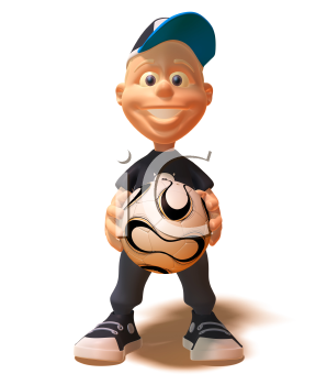 Royalty Free 3d Clipart Image of a White Youth Holding a Soccer Ball
