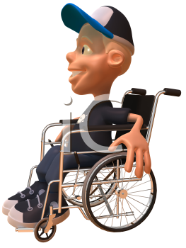 Royalty Free 3d Clipart Image of a White Youth in a Wheelchair