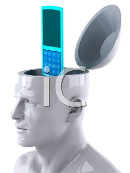 Royalty Free 3d Clipart Image of a Male Thinking About a Cell Phone