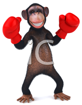 Royalty Free Clipart Image of a Chimpanzee Wearing Boxing Gloves