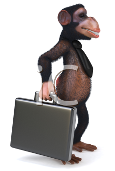 Royalty Free Clipart Image of a Monkey With a Briefcase and Wearing a Tie