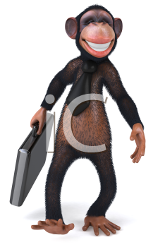Royalty Free Clipart Image of a Monkey Wearing a Tie and Carrying a Briefcase