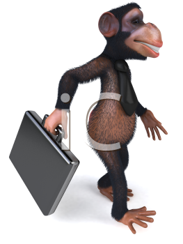 Royalty Free Clipart Image of a Businessman Monkey With a Briefcase