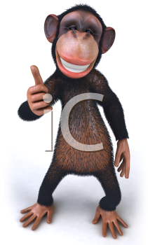 Royalty Free 3d Clipart Image of a Monkey Giving a Thumbs Up Sign
