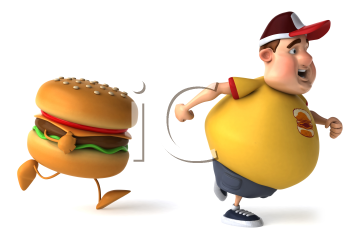 Royalty Free Clipart Image of an Overweight Man Being Chased By a Burger