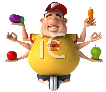 Royalty Free Clipart Image of a Fat Man Riding an Exercise Bike While Holding Vegetables and Meditating