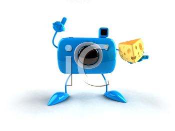 Royalty Free 3d Clipart Image of a Camera Holding a Piece of Cheese