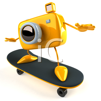Royalty Free 3d Clipart Image of a Camera Riding a Skateboard