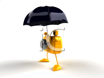 Royalty Free 3d Clipart Image of a Camera Holding an Umbrella