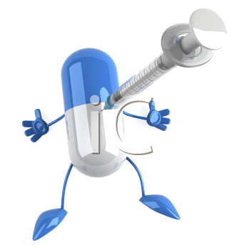 Royalty Free Clipart Image of a Capsule Getting a Needle