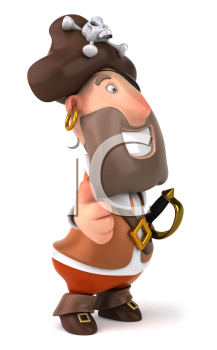 Royalty Free Clipart Image of a Pirate Giving a Thumbs Up