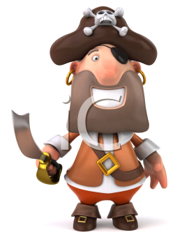 Royalty Free Clipart Image of a Smiling Pirate With a Sword