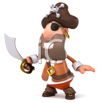 Royalty Free Clipart Image of a Smiling Pirate With a Sword From the Side