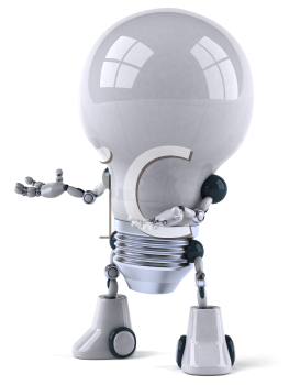 Royalty Free 3d Clipart Image of a Robot Lightbulb