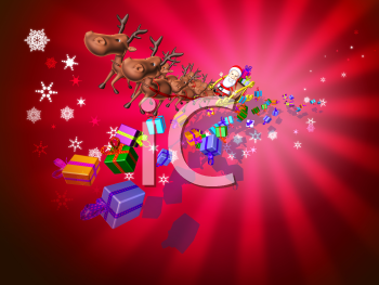 Royalty Free 3d Clipart Image of Santa Riding in a Sleigh Led by Reindeer with Presents