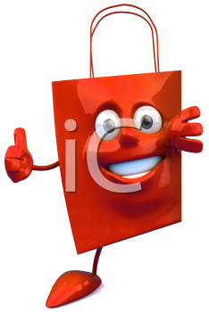 Royalty Free Clipart Image of a Red Bag Giving a Thumbs Up