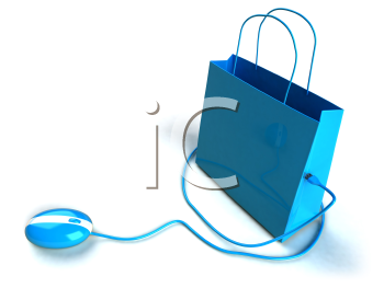 Royalty Free 3d Clipart Image of a Shopping Bag with a Computer Mouse Attached