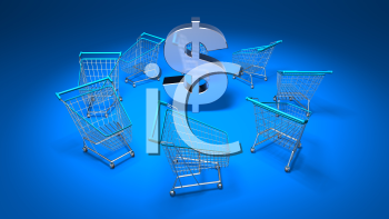 Royalty Free 3d Clipart Image of Shopping Carts With a Blue Background and Dollar Sign in the Centre