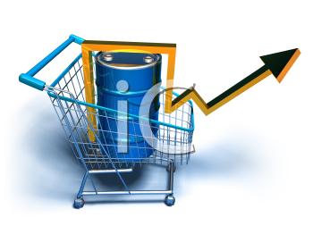 Royalty Free 3d Clipart Image of a Shopping Cart With an Oil Can