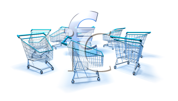 Royalty Free 3d Clipart Image of Shopping Carts With a Euro Sign in the Middle