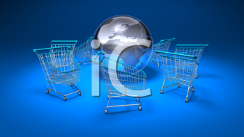 Royalty Free 3d Clipart Image of Shopping Carts With a Blue Background and a Globe in the Middle