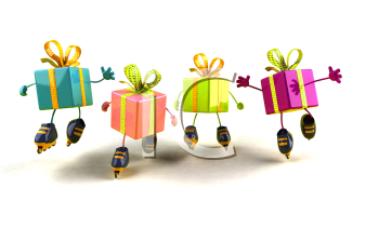 Royalty Free 3d Clipart Image of Shiny Gifts on Rollerblades