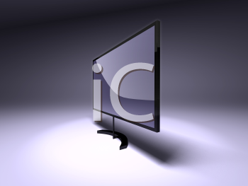 Royalty Free 3d Clipart Image of a Flat Screen TV