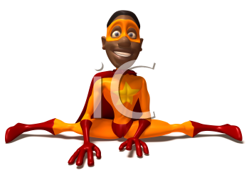 Royalty Free 3d Clipart Image of a Black Superhero