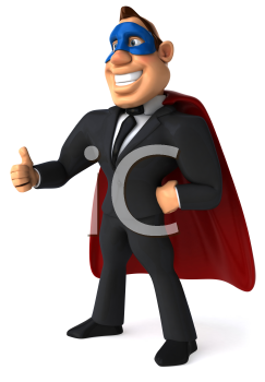 Royalty Free Clipart Image of a Superhero Businessman Giving a Thumbs Up