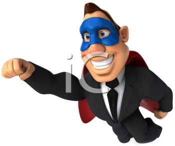 Royalty Free Clipart Image of a Flying Superhero Businessman