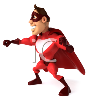 Royalty Free Clipart Image of a Superhero Ready to Fight