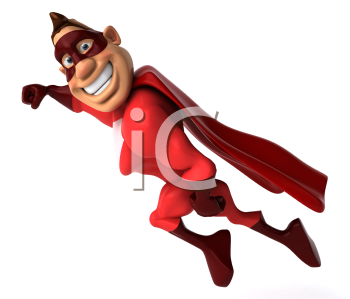 Royalty Free Clipart Image of a Smiling, Flying Superhero