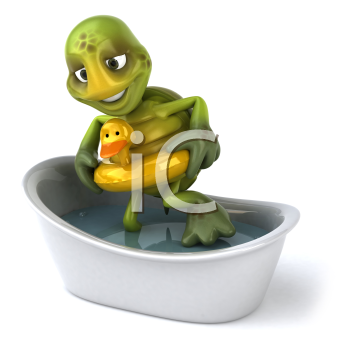 Royalty Free Clipart Image of a Turtle Taking a Bath With a Ducky Ring