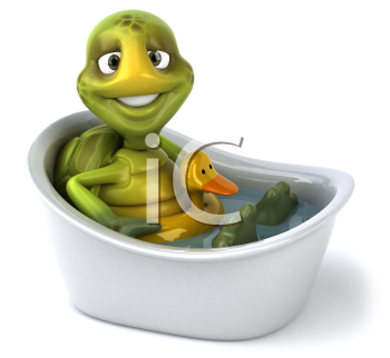 Royalty Free Clipart Image of a Turtle in a Bathtub
